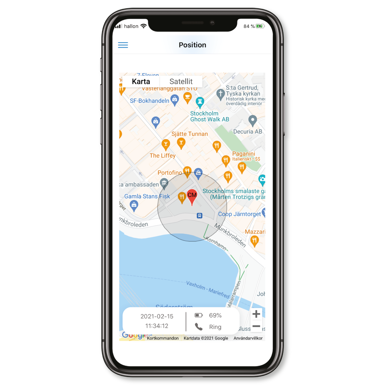 Sensorem app GPS-lokalisering