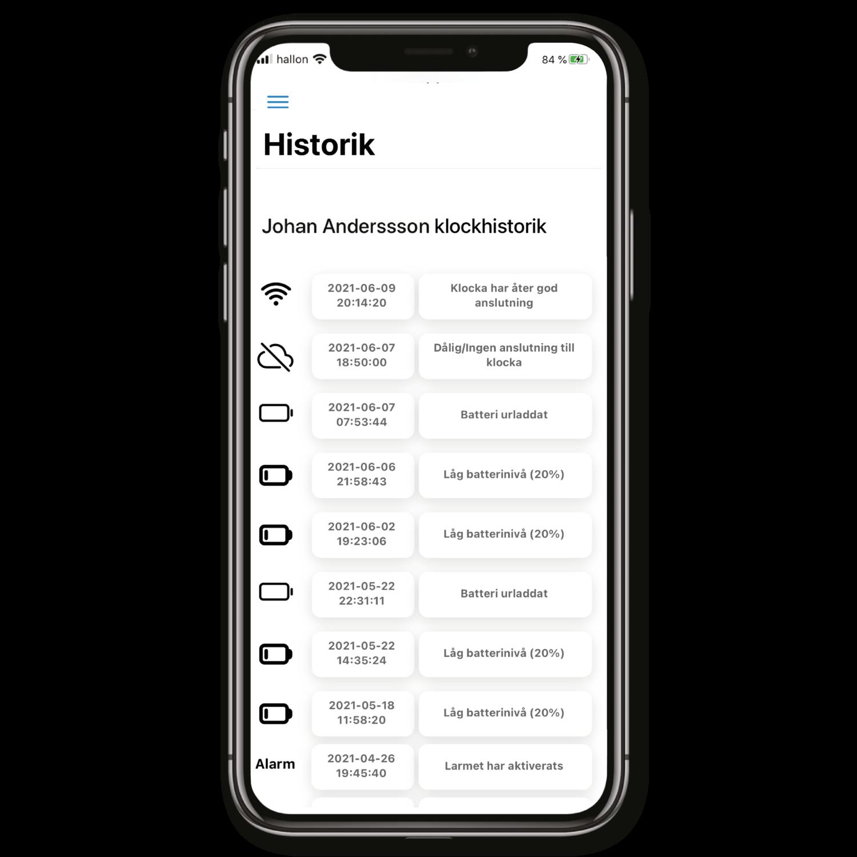 Sensorem app historik
